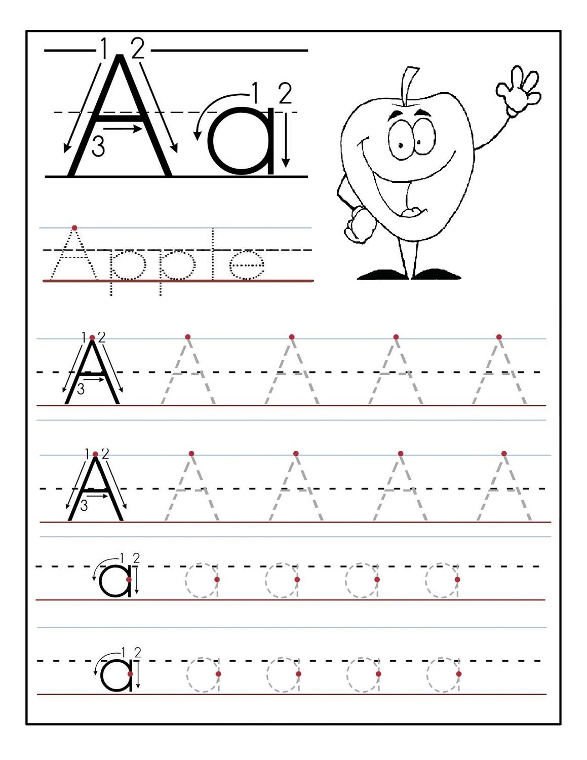 Trace Letter A Sheets To Print | Printable Preschool in Tracing Letters Worksheets For Nursery