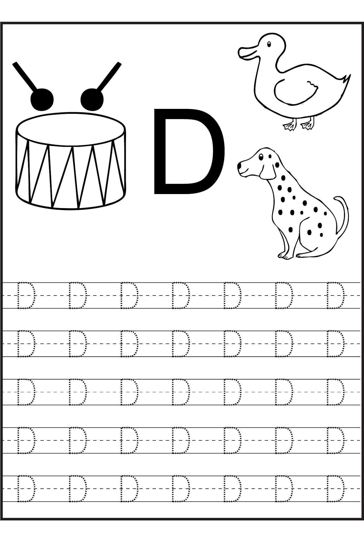 Trace Letter D Worksheets Activity Shelter | Alphabet in Letter Tracing Worksheets Editable