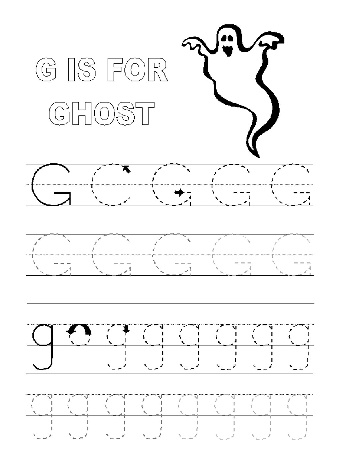 Trace Letter G Worksheets | Activity Shelter for Action Alphabet Tracing Letters