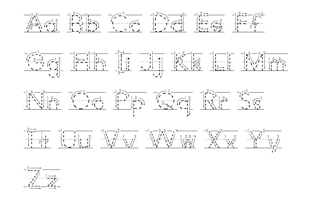 Tracing Abc With Arrows Dotted Print | Tracing Letters regarding Tracing Letters With Directional Arrows