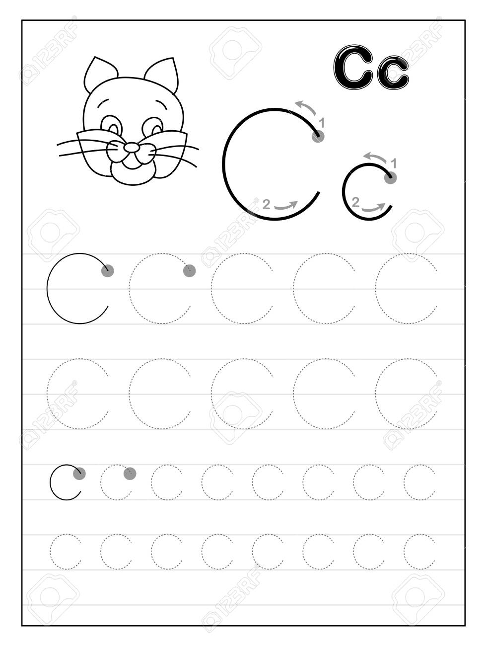 Tracing Alphabet Letter C. Black And White Educational Pages.. in Tracing Letter C Worksheets