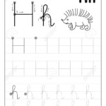Tracing Alphabet Letter H. Black And White Educational Pages.. in Tracing Letter H Worksheets