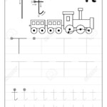 Tracing Alphabet Letter T. Black And White Educational Pages.. with Letter T Tracing Worksheet