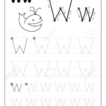 Tracing Alphabet Letter W. Black And White Educational Pages.. for Tracing Letter W Worksheets
