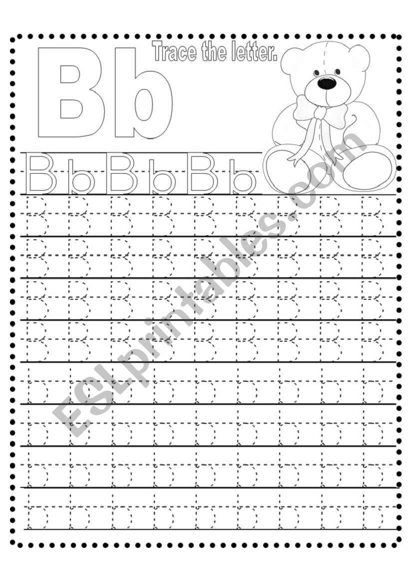 Tracing Letter B - Esl Worksheetlizsantiago for Tracing Letter B Worksheets
