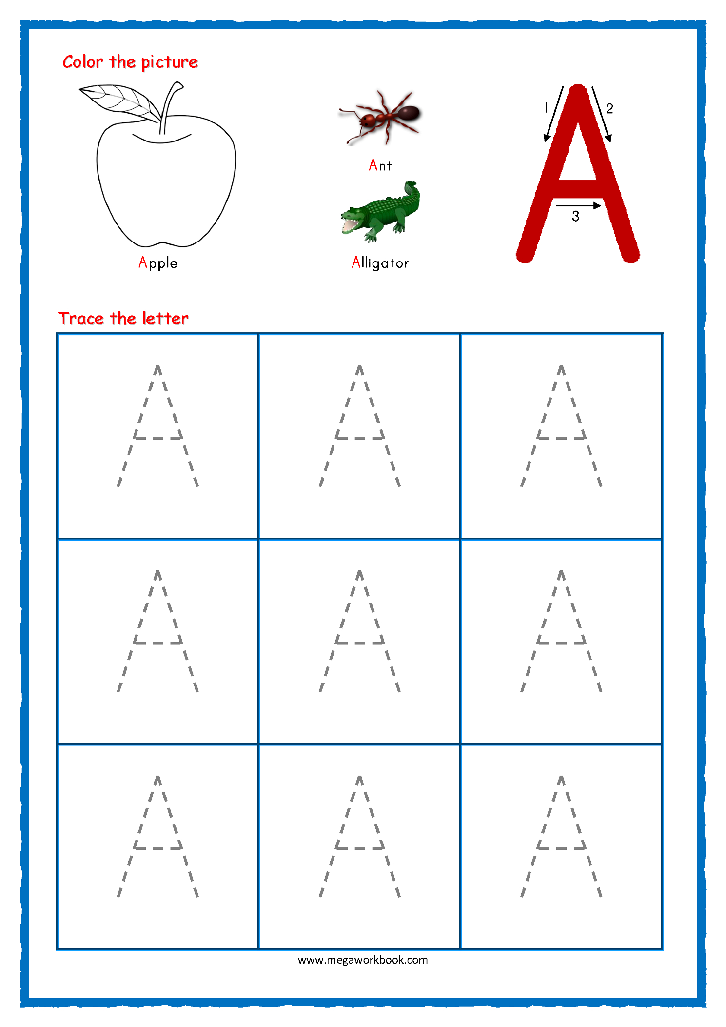 Tracing Letters - Alphabet Tracing - Capital Letters with Tracing Letters A Worksheets
