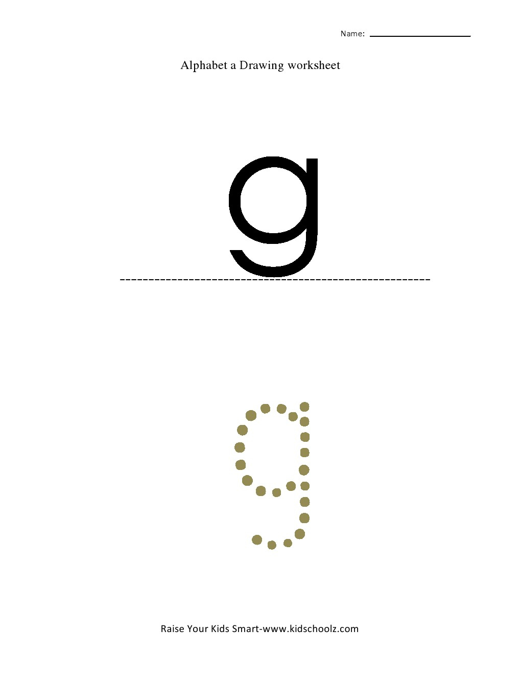 Tracing Small Letter Alphabets - G - Kidschoolz regarding Tracing Small Letter G Worksheet