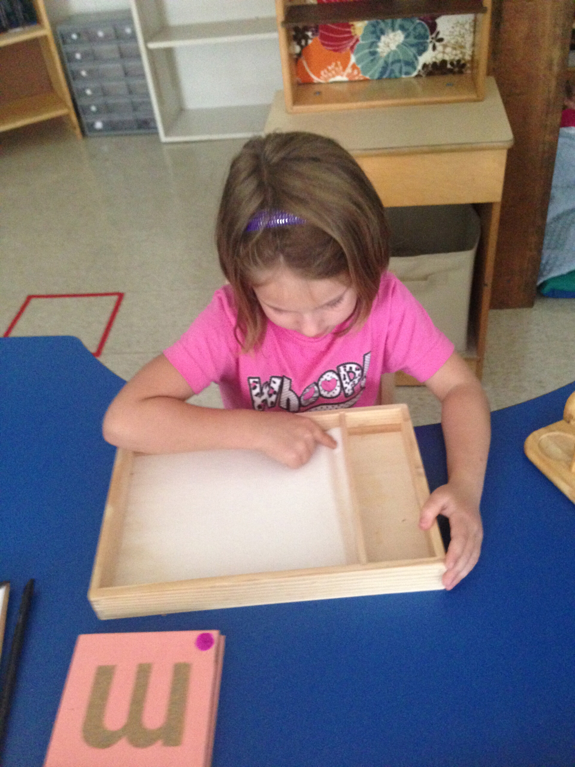 Tracing The Sandpaper Letter And Drawing It In Sand Tray regarding Sand Tracing Letters
