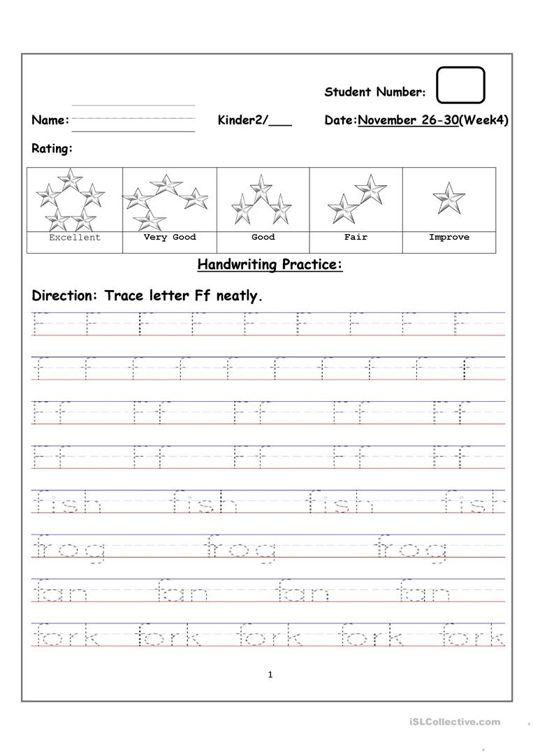 Tracing Uppercase And Lowercase Letter Ff - English Esl for Tracing Upper And Lowercase Letters Worksheets