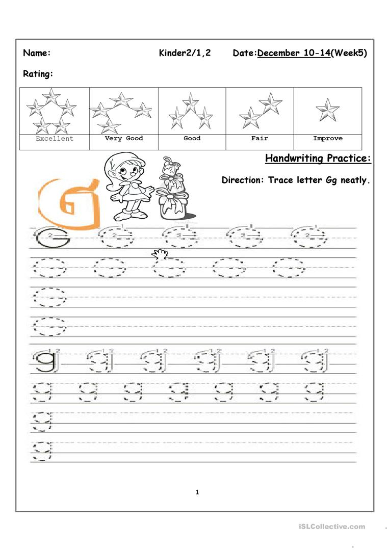 Tracing Uppercase And Lowercase Letter Gg - English Esl intended for Tracing Upper And Lowercase Letters