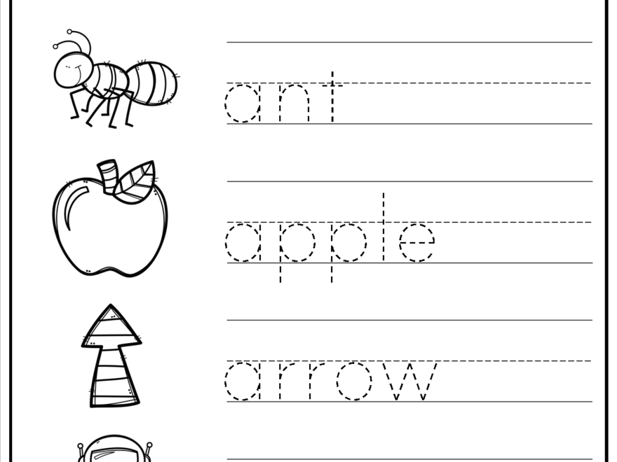 Tracing Words - Things That Start With A-Z | Teaching throughout Tracing Letters And Words Worksheets