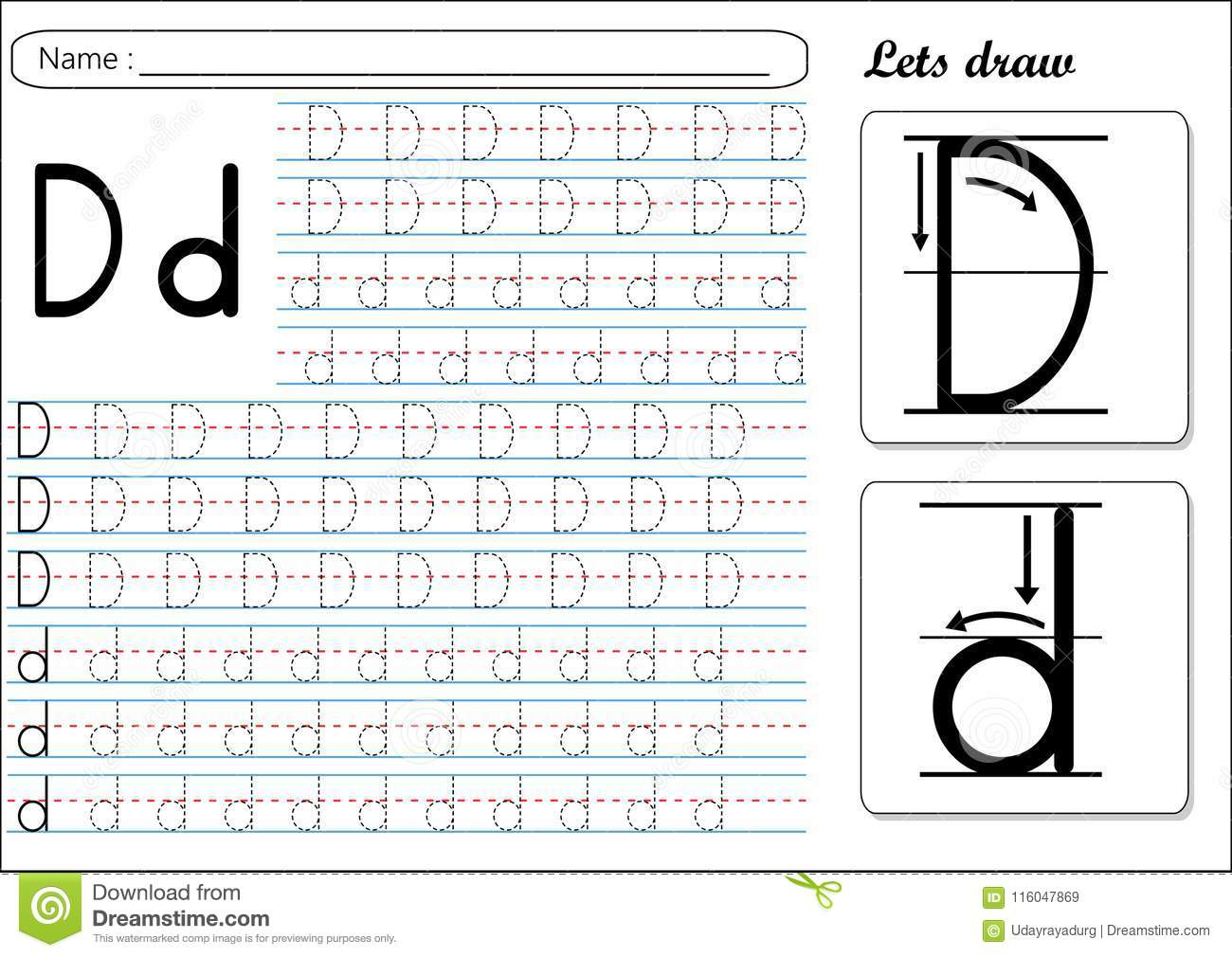 Tracing Worksheet -Dd Stock Vector. Illustration Of Small inside Tracing Letter D Worksheets