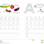 Tracing Worksheet For Letter A Stock Vector - Illustration for A Letter Tracing Worksheet