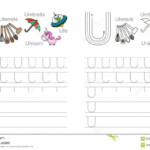 Tracing Worksheet For Letter U Stock Vector - Illustration intended for Tracing Letter U Worksheets