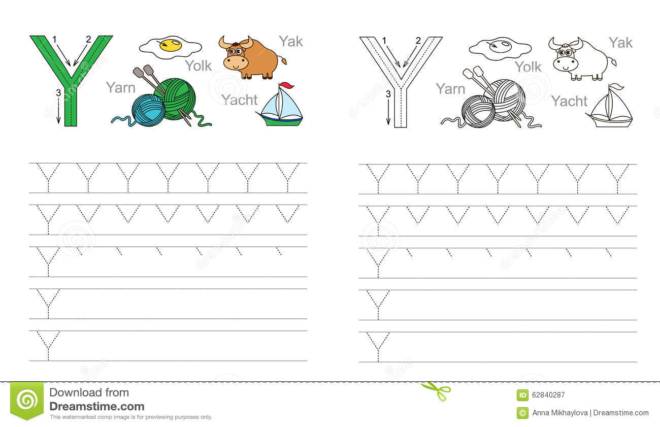 Tracing Worksheet For Letter Y Stock Vector - Illustration with regard to Tracing Letter Y Worksheets