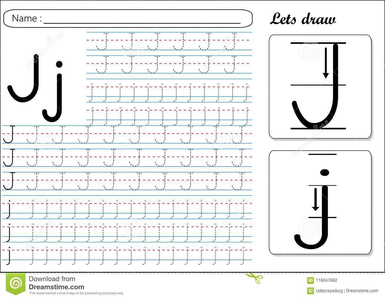 Tracing Worksheet -Jj Stock Vector. Illustration Of Fast inside Small Alphabet Letters Tracing Worksheets