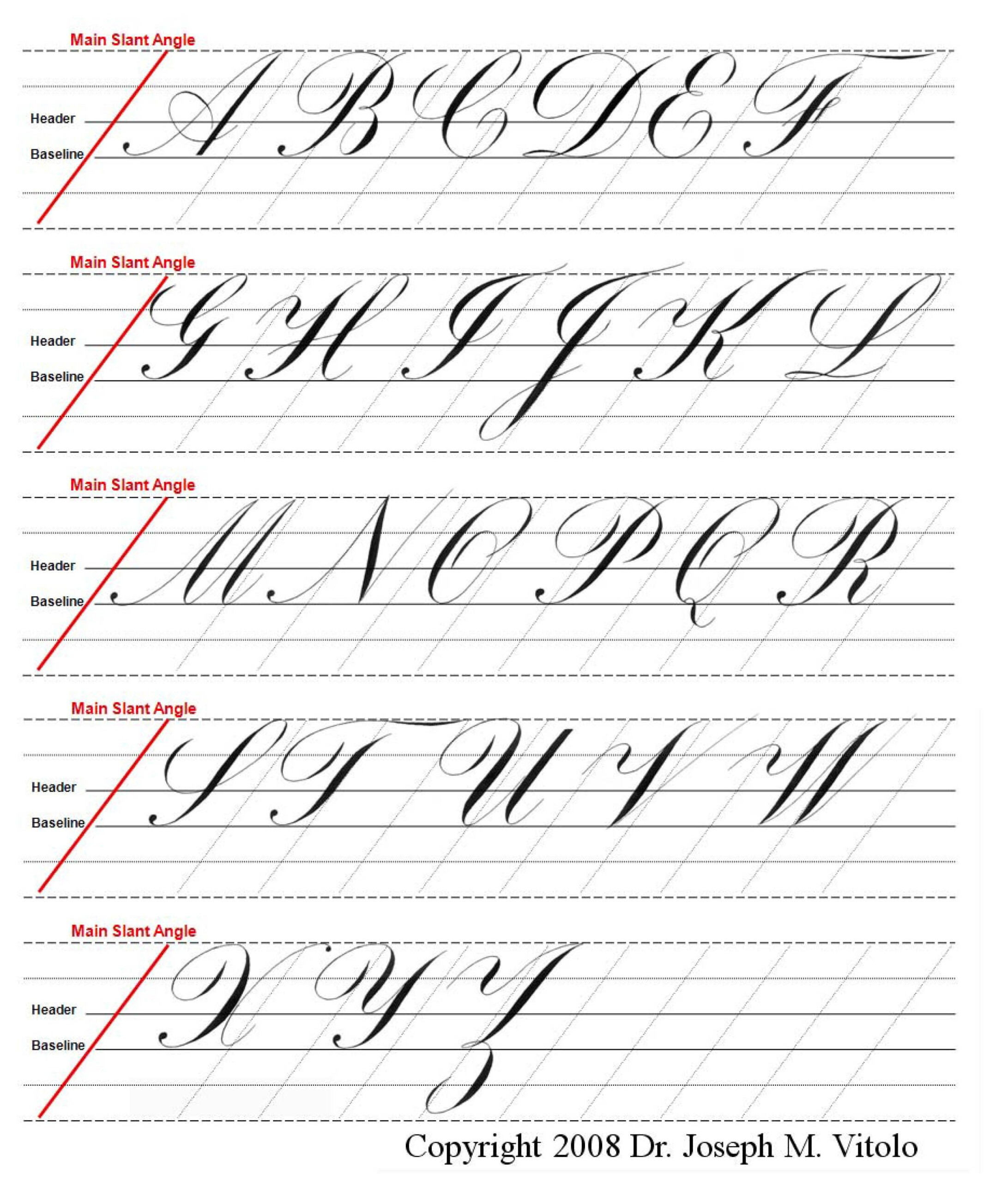 Uppercase Alphabet In Copperplate : Guidelines, Practice with Cursive Letters Tracing Guide