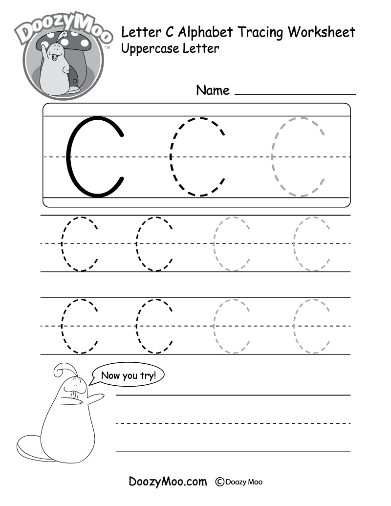 Uppercase Letter C Tracing Worksheet - Doozy Moo in Tracing Alphabet Letters Worksheets