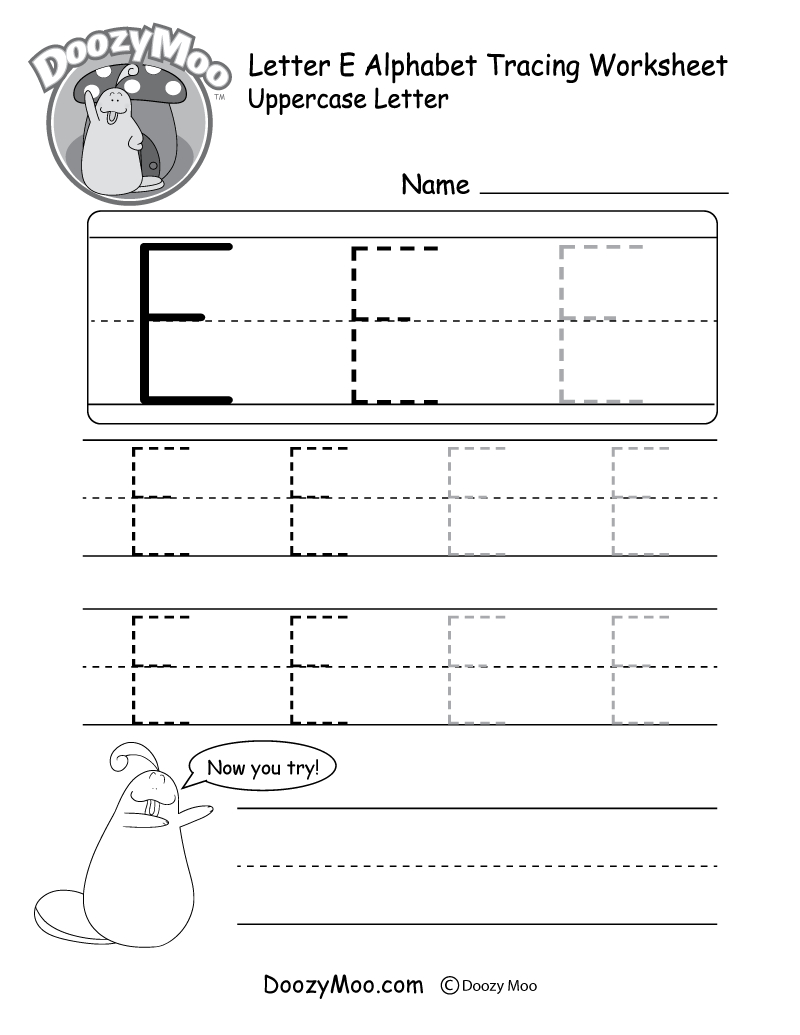Uppercase Letter E Tracing Worksheet - Doozy Moo within Tracing Alphabet Letters