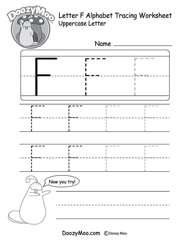 Uppercase Letter F Tracing Worksheet - Doozy Moo in Tracing Letter F Worksheets Preschool