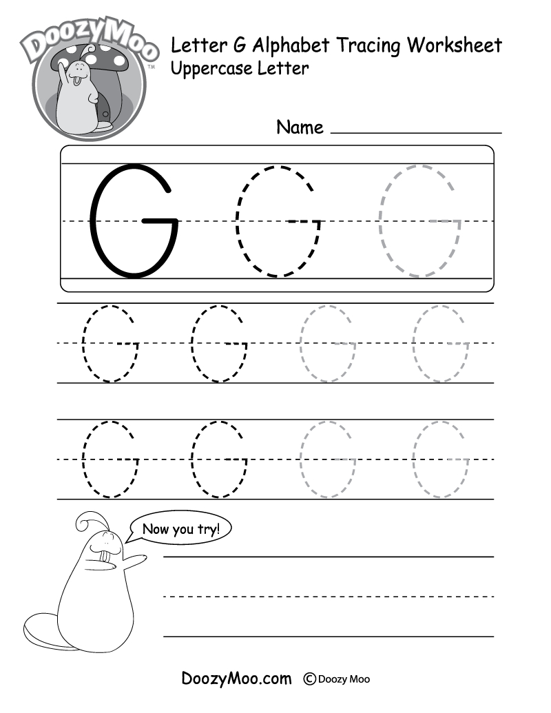 Uppercase Letter G Tracing Worksheet - Doozy Moo with regard to Tracing Letter G Worksheets