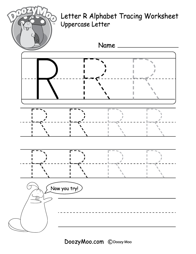 Uppercase Letter R Tracing Worksheet - Doozy Moo in Tracing Letter R Worksheets