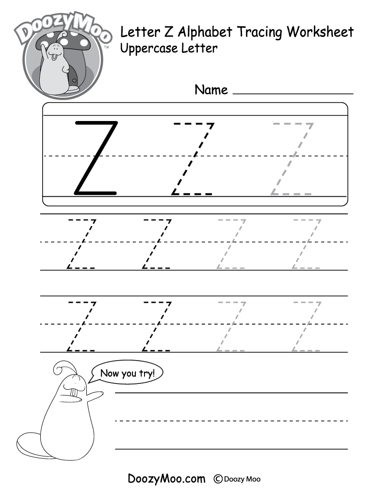 Uppercase Letter Z Tracing Worksheet - Doozy Moo with regard to Tracing Letters A To Z Worksheets