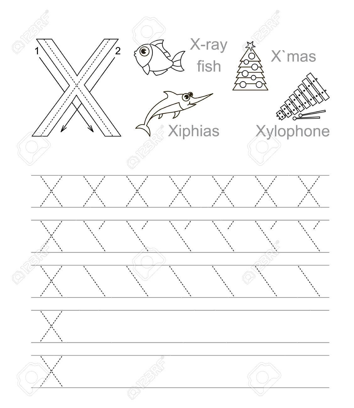 Vector Exercise Illustrated Alphabet. Learn Handwriting. Tracing.. inside Tracing Letter X Worksheets