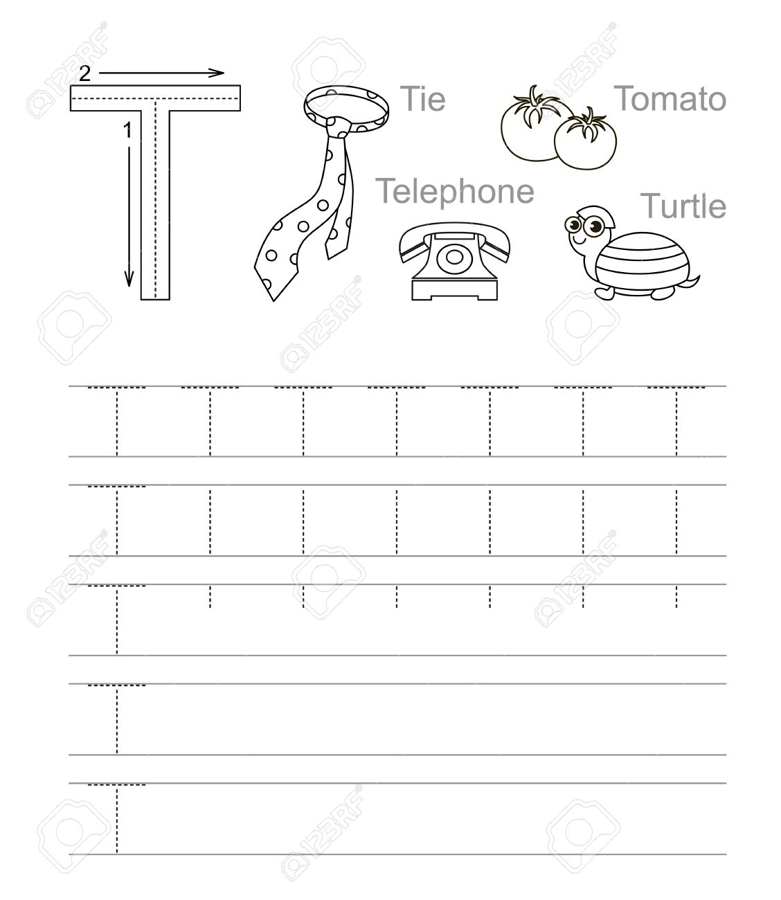 Vector Exercise Illustrated Alphabet. Learn Handwriting. Tracing.. regarding Letter T Tracing Worksheet