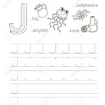 Vector Exercise Illustrated Alphabet. Learn Handwriting. Tracing.. regarding Tracing Letter J Worksheets