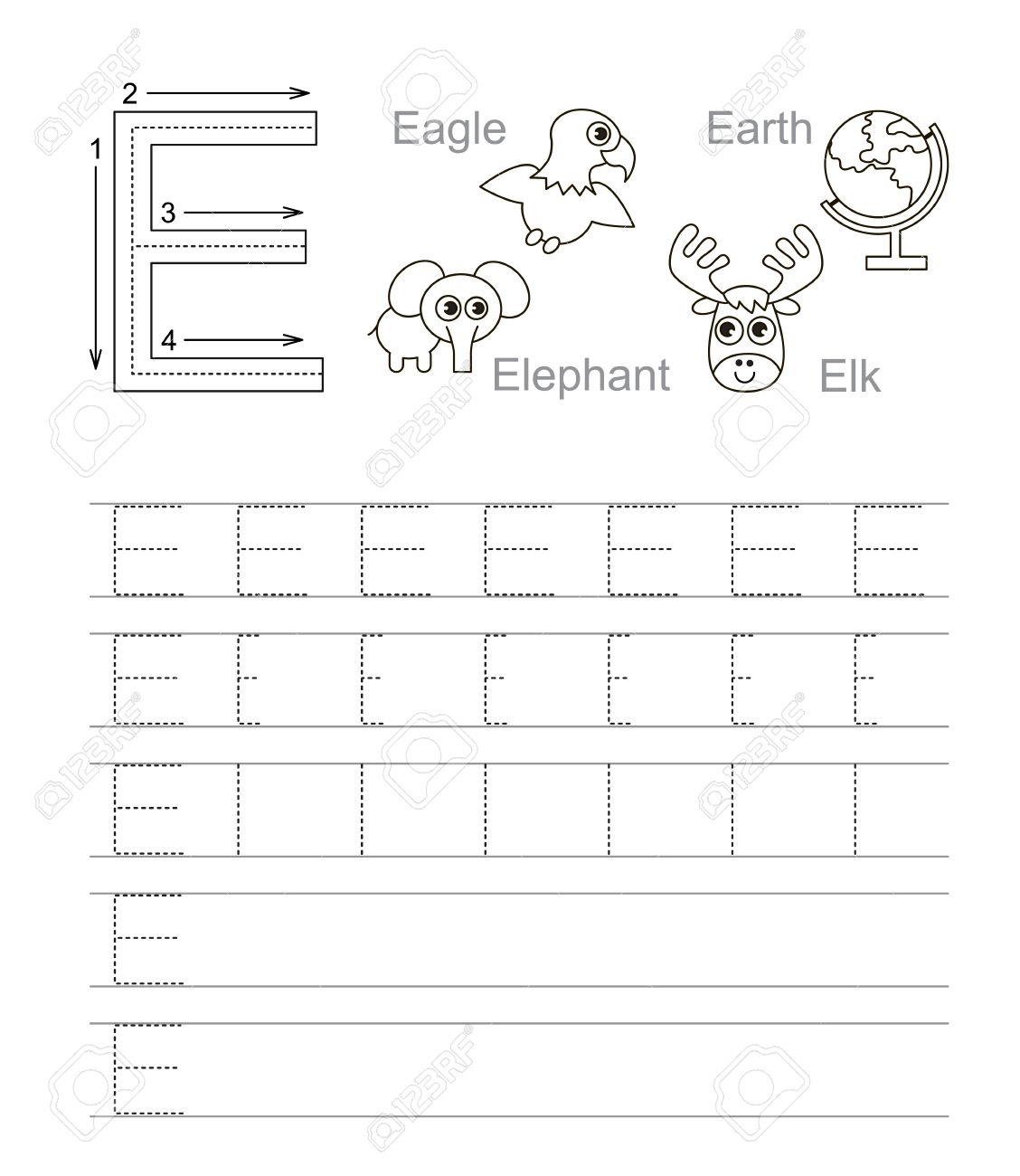 Vector Exercise Illustrated Alphabet. Learn Handwriting. Tracing.. throughout Letter E Tracing Worksheets