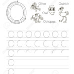 Vector Exercise Illustrated Alphabet. Learn Handwriting. Tracing.. with regard to Trace Letter O Worksheets