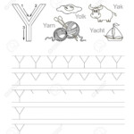 Vector Exercise Illustrated Alphabet. Learn Handwriting. Tracing.. within Tracing Letter Y Worksheets