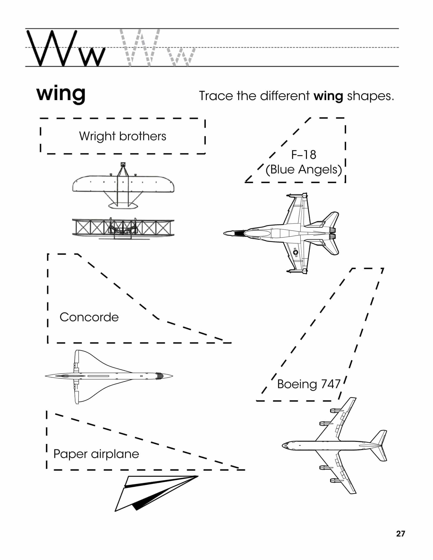 W - Trace A Letter And Trace The Different Wing Shapes for Tracing Letters And Shapes Worksheets