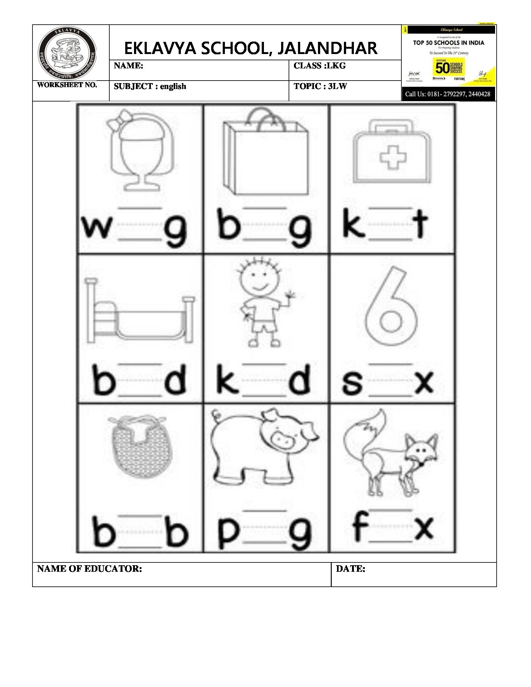 Worksheet On Three Letter Words 'i' In The Middle for Tracing 3 Letter Words Worksheets