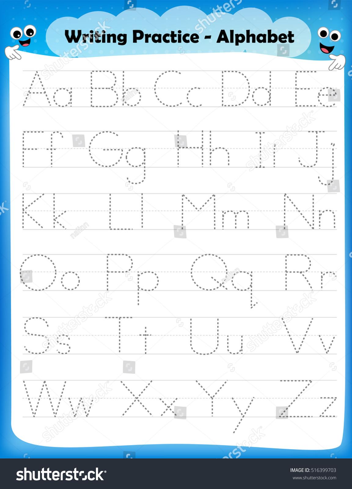 Worksheets : Alphabeters Tracing Worksheet All Stock Vector for Tracing Alphabet Letters For Kindergarten