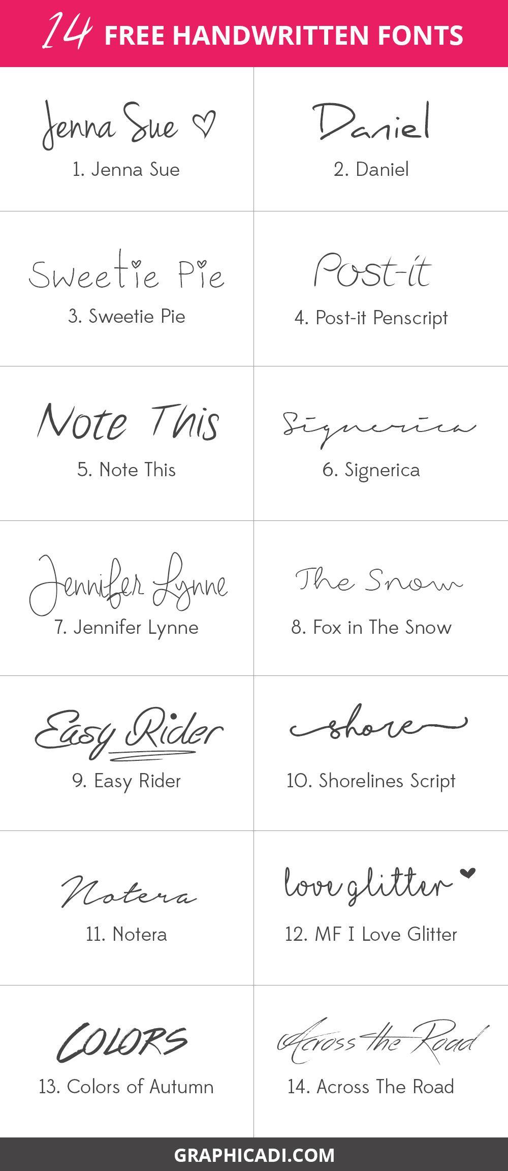 14 Free Handwritten Fonts | Free Handwritten Fonts