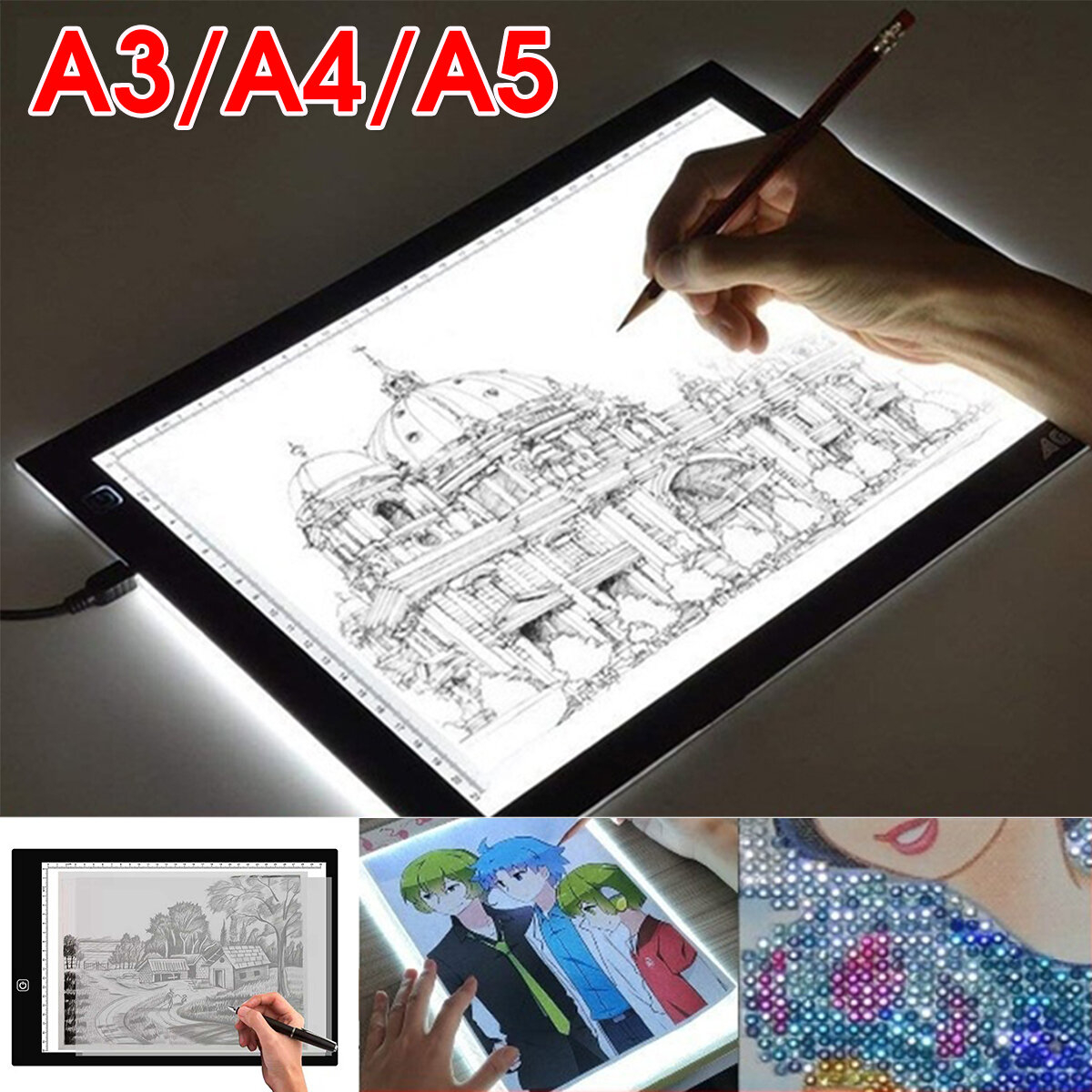 A3 A4 A5 Led Light Box Tracing Drawing Board Art Design Pad Slim Lightbox  Usb Projector