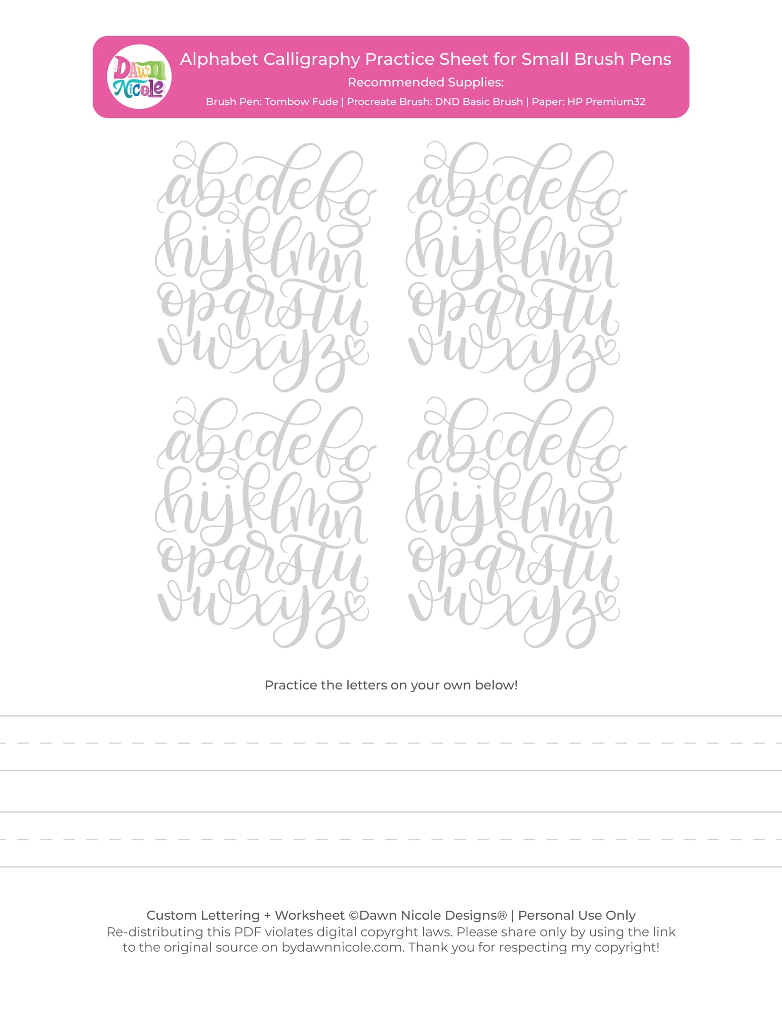 Alphabet Calligraphy Free Practice Sheets Dawn Nicole