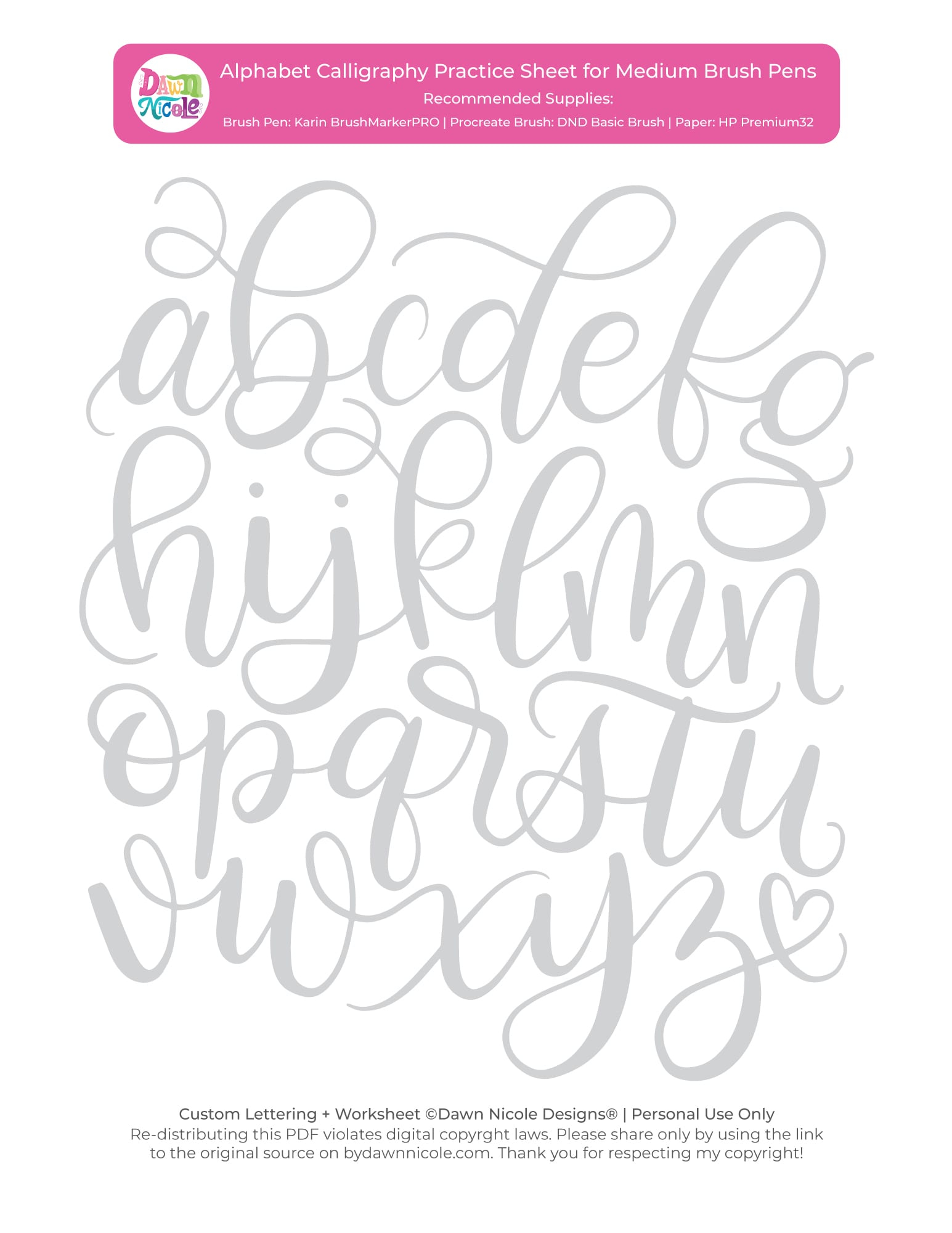 Alphabet Calligraphy Free Practice Sheets | Dawn Nicole