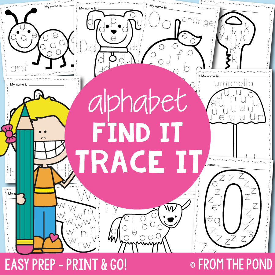 Alphabet Find It Trace It Worksheets + A Freebie! | From The