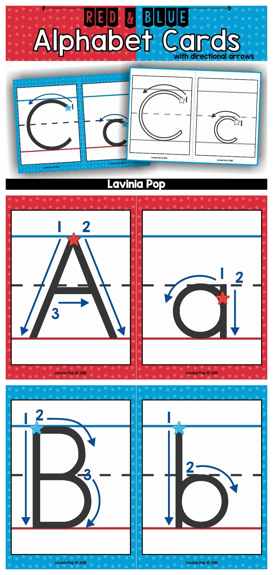 Alphabet Handwriting Cards With Directional Arrows - Red