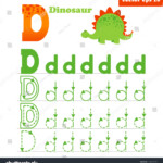 Alphabet Tracing Letter D Worksheet Preschool Arkivvektor