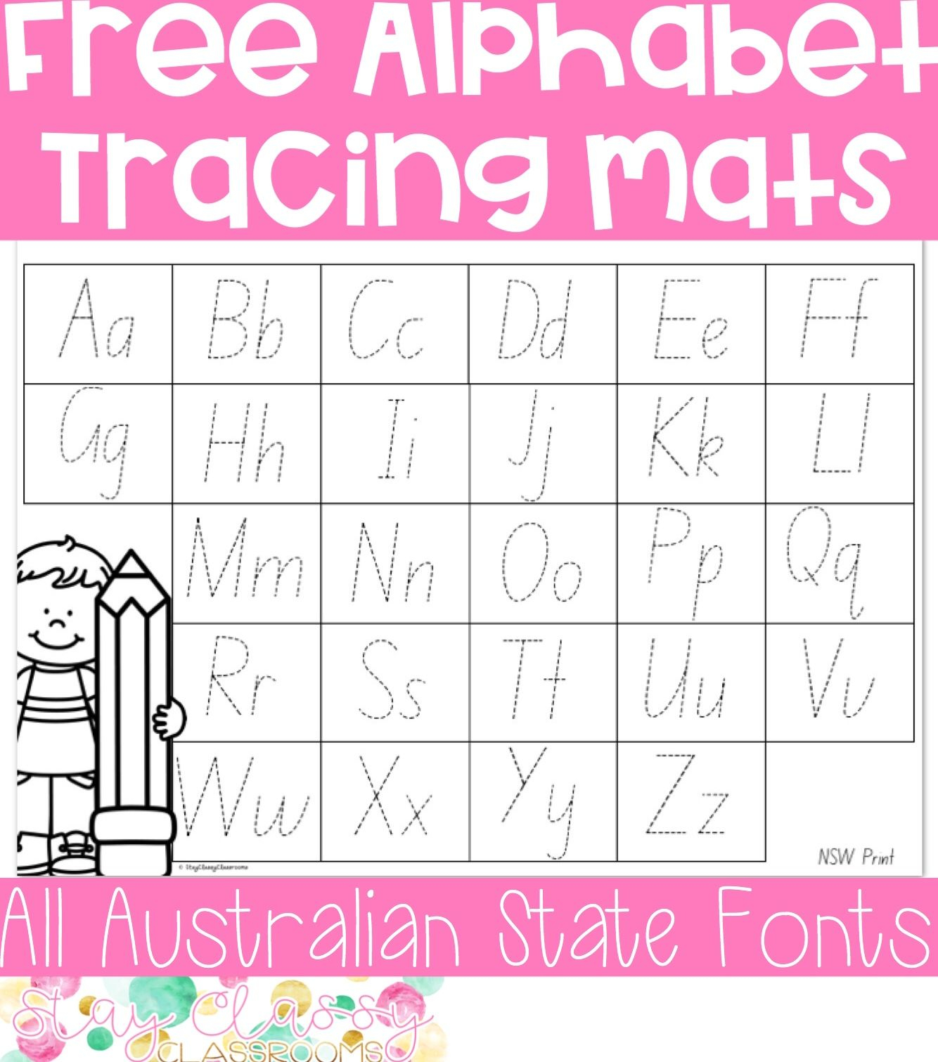 Alphabet Tracing Mats (Print And Australian Fonts