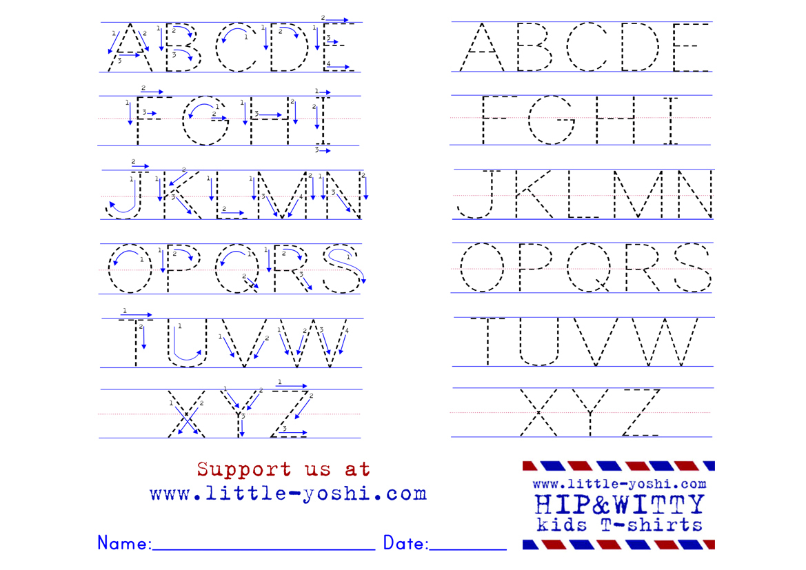 Alphabet Tracing Worksheet With Arrows | Printable