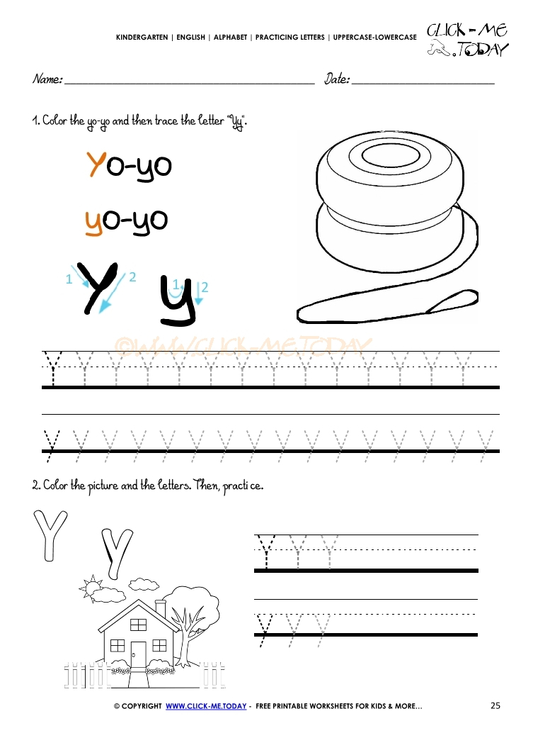 Alphabet Tracing Worksheets - How To Write Letter Y