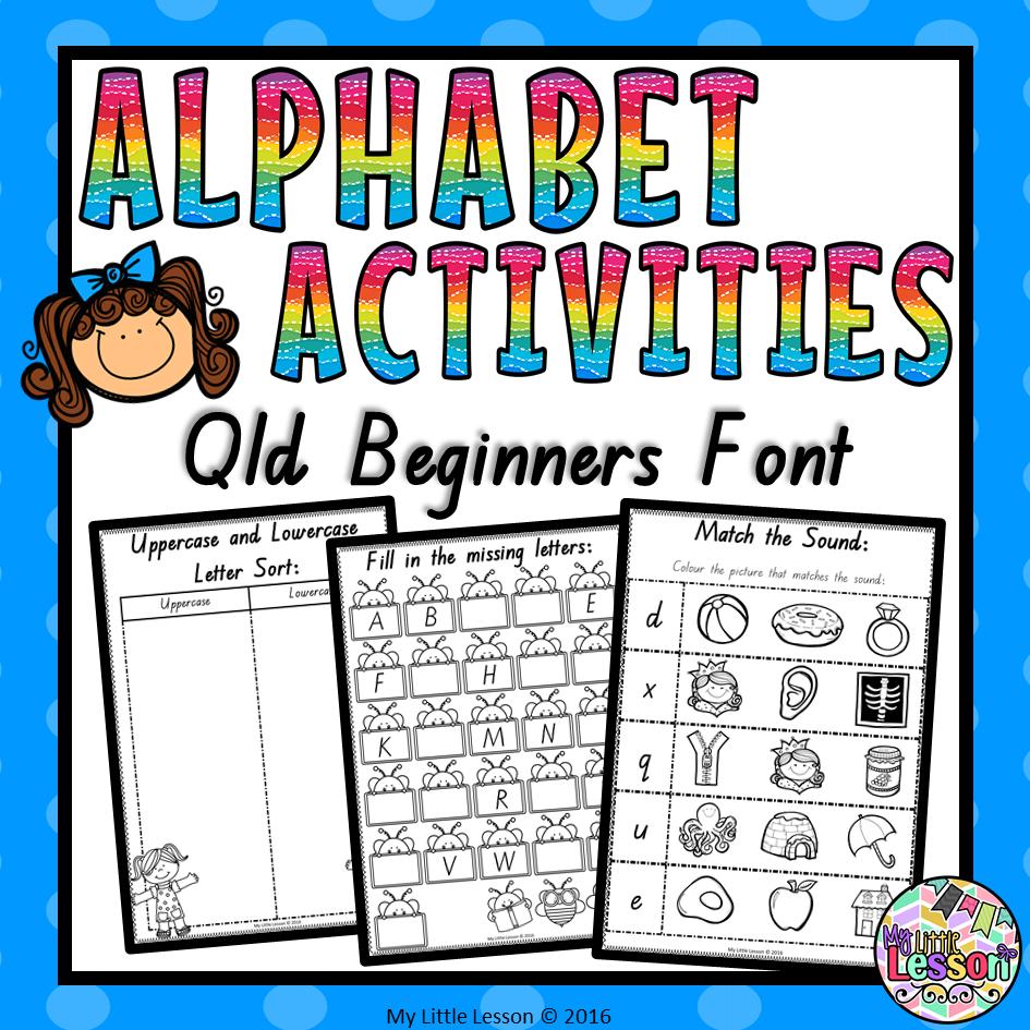 Alphabet Worksheets Qld Beginners Font