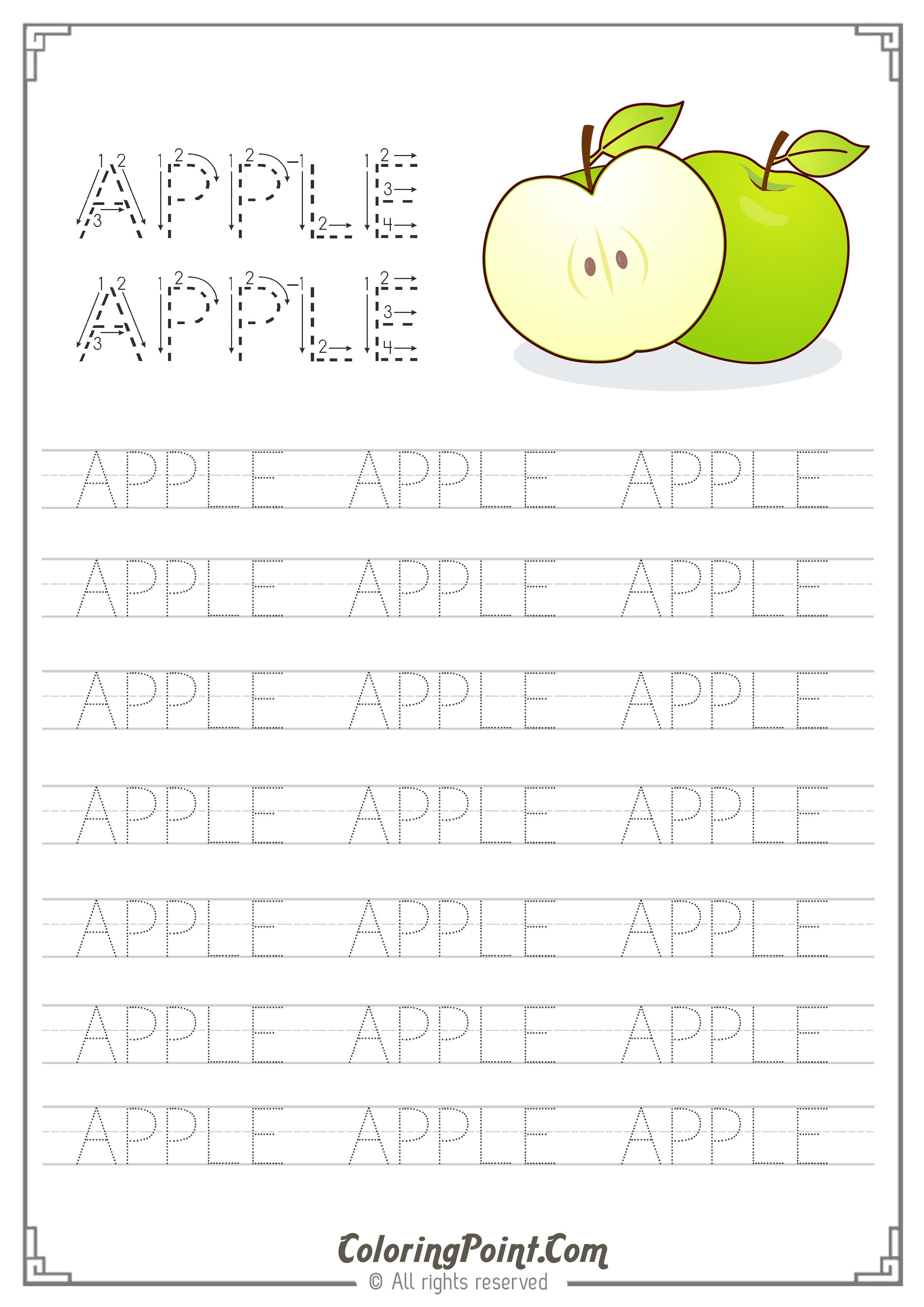 Apple Word Tracing Worksheet   Tracing Worksheets, Name