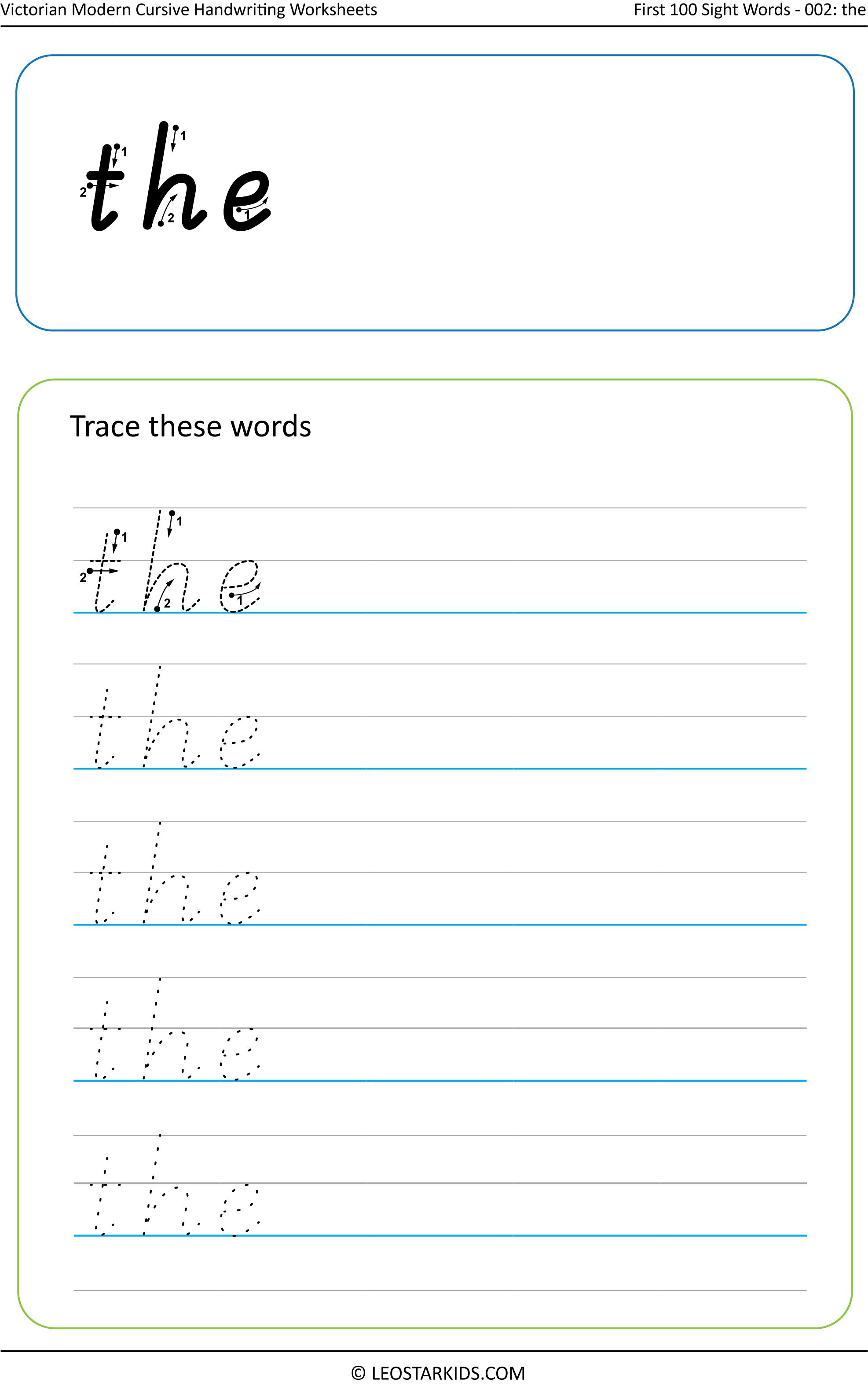Australian Handwriting Worksheets – Victorian Modern Cursive