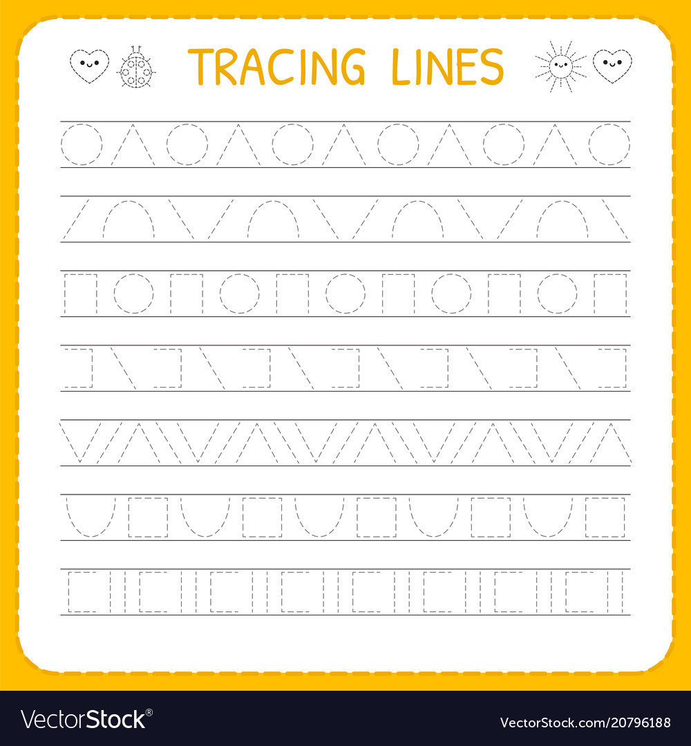 Basic Writing Trace Line Worksheet For Kids